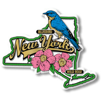 New York State Bird and Flower Map Magnet by Classic Magnets, Collectible Souvenirs Made in the USA