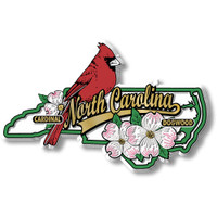 North Carolina State Bird and Flower Map Magnet by Classic Magnets, Collectible Souvenirs Made in the USA