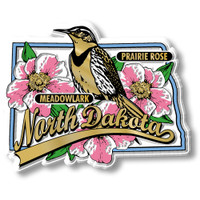 North Dakota State Bird and Flower Map Magnet by Classic Magnets, Collectible Souvenirs Made in the USA