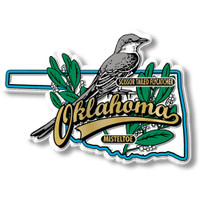 Oklahoma State Bird and Flower Map Magnet by Classic Magnets, Collectible Souvenirs Made in the USA
