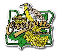 Oregon State Bird and Flower Map Magnet by Classic Magnets, Collectible Souvenirs Made in the USA