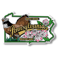 Pennsylvania State Bird and Flower Map Magnet by Classic Magnets, Collectible Souvenirs Made in the USA