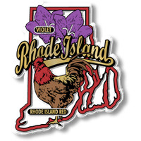 Rhode Island State Bird and Flower Map Magnet by Classic Magnets, Collectible Souvenirs Made in the USA