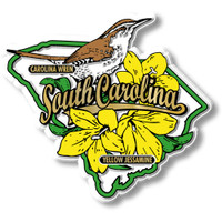 South Carolina State Bird and Flower Map Magnet by Classic Magnets, Collectible Souvenirs Made in the USA