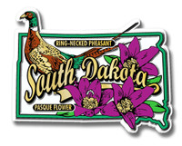 South Dakota State Bird and Flower Map Magnet by Classic Magnets, Collectible Souvenirs Made in the USA