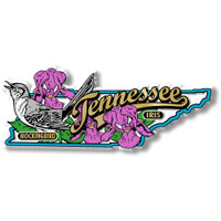 Tennessee State Bird and Flower Map Magnet by Classic Magnets, Collectible Souvenirs Made in the USA