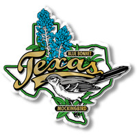 Texas State Bird and Flower Map Magnet by Classic Magnets, Collectible Souvenirs Made in the USA