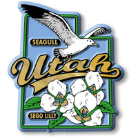 Utah State Bird and Flower Map Magnet by Classic Magnets, Collectible Souvenirs Made in the USA