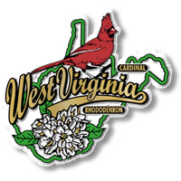 West Virginia State Bird and Flower Map Magnet by Classic Magnets, Collectible Souvenirs Made in the USA