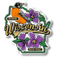 Wisconsin State Bird and Flower Map Magnet by Classic Magnets, Collectible Souvenirs Made in the USA