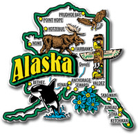 Alaska Jumbo State Magnet by Classic Magnets, Collectible Souvenirs Made in the USA