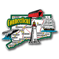 Connecticut Jumbo State Magnet by Classic Magnets, Collectible Souvenirs Made in the USA