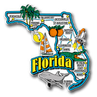 Florida Jumbo State Magnet by Classic Magnets, Collectible Souvenirs Made in the USA