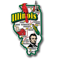 Illinois Jumbo State Magnet by Classic Magnets, Collectible Souvenirs Made in the USA