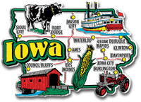 Iowa Jumbo State Magnet by Classic Magnets, Collectible Souvenirs Made in the USA