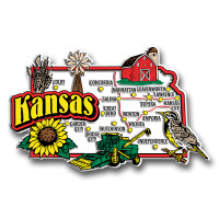 Kansas Jumbo State Magnet by Classic Magnets, Collectible Souvenirs Made in the USA