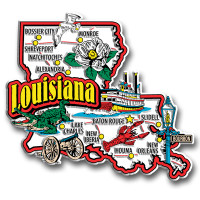 Louisiana Jumbo State Magnet by Classic Magnets, Collectible Souvenirs Made in the USA