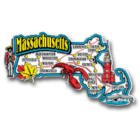 Massachusetts Jumbo State Magnet by Classic Magnets, Collectible Souvenirs Made in the USA