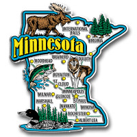Minnesota Jumbo State Magnet by Classic Magnets, Collectible Souvenirs Made in the USA
