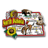 North Dakota Jumbo State Magnet by Classic Magnets, Collectible Souvenirs Made in the USA
