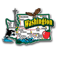 Washington Jumbo State Magnet by Classic Magnets, Collectible Souvenirs Made in the USA