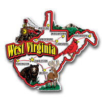 West Virginia Jumbo State Magnet by Classic Magnets, Collectible Souvenirs Made in the USA
