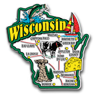 Wisconsin Jumbo State Magnet by Classic Magnets, Collectible Souvenirs Made in the USA