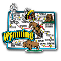 Wyoming Jumbo State Map Magnet by Classic Magnets, Collectible Souvenirs Made in the USA