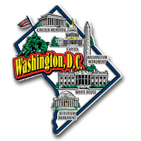 Washington, D.C. Jumbo Map Magnet by Classic Magnets, Collectible Souvenirs Made in the USA