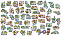 Jumbo U.S. State Magnet Set by Classic Magnets, 51-Piece Set, Collectible Souvenirs Made in the USA