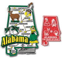 Alabama Jumbo & Small State Map Magnet Set by Classic Magnets, 2-Piece Set, Collectible Souvenirs Made in the USA