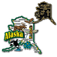 Alaska Jumbo & Small State Map Magnet Set by Classic Magnets, 2-Piece Set, Collectible Souvenirs Made in the USA