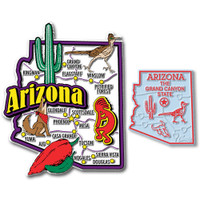 Arizona Jumbo & Small State Map Magnet Set by Classic Magnets, 2-Piece Set, Collectible Souvenirs Made in the USA