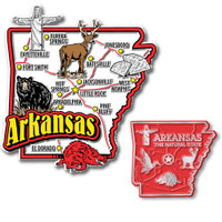Arkansas Jumbo & Small State Map Magnet Set by Classic Magnets, 2-Piece Set, Collectible Souvenirs Made in the USA