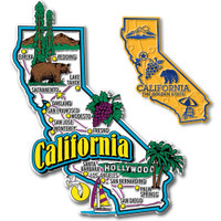 California Jumbo & Small State Map Magnet Set by Classic Magnets, 2-Piece Set, Collectible Souvenirs Made in the USA