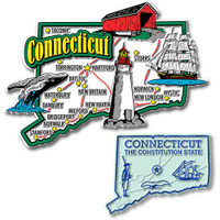Connecticut Jumbo & Small State Map Magnet Set by Classic Magnets, 2-Piece Set, Collectible Souvenirs Made in the USA