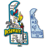 Delaware Jumbo & Small State Map Magnet Set by Classic Magnets, 2-Piece Set, Collectible Souvenirs Made in the USA