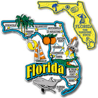 Florida Jumbo & Small State Map Magnet Set by Classic Magnets, 2-Piece Set, Collectible Souvenirs Made in the USA