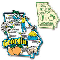 Georgia Jumbo & Small State Map Magnet Set by Classic Magnets, 2-Piece Set, Collectible Souvenirs Made in the USA