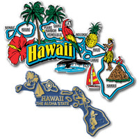 Hawaii Jumbo & Small State Map Magnet Set by Classic Magnets, 2-Piece Set, Collectible Souvenirs Made in the USA