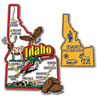 Idaho Jumbo & Small State Map Magnet Set by Classic Magnets, 2-Piece Set, Collectible Souvenirs Made in the USA