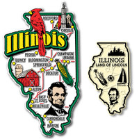 Illinois Jumbo & Small State Map Magnet Set by Classic Magnets, 2-Piece Set, Collectible Souvenirs Made in the USA