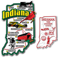 Indiana Jumbo & Small State Map Magnet Set by Classic Magnets, 2-Piece Set, Collectible Souvenirs Made in the USA