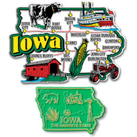 Iowa Jumbo & Small State Map Magnet Set by Classic Magnets, 2-Piece Set, Collectible Souvenirs Made in the USA