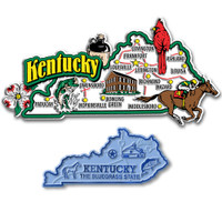 Kentucky Jumbo & Small State Map Magnet Set by Classic Magnets, 2-Piece Set, Collectible Souvenirs Made in the USA