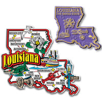Louisiana Jumbo & Small State Map Magnet Set by Classic Magnets, 2-Piece Set, Collectible Souvenirs Made in the USA