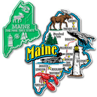 Maine Jumbo & Small State Map Magnet Set by Classic Magnets, 2-Piece Set, Collectible Souvenirs Made in the USA