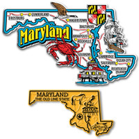 Maryland Jumbo & Small State Map Magnet Set by Classic Magnets, 2-Piece Set, Collectible Souvenirs Made in the USA