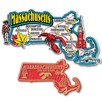 Massachusetts Jumbo & Small State Map Magnet Set by Classic Magnets, 2-Piece Set, Collectible Souvenirs Made in the USA