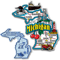 Michigan Jumbo & Small State Map Magnet Set by Classic Magnets, 2-Piece Set, Collectible Souvenirs Made in the USA
